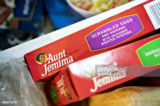 Boxes of Pinnacle Foods Inc Aunt Jemima Frozen Breakfast brand breakfast items are arranged for a photograph in Tiskilwa Illinois US on Wednesday...