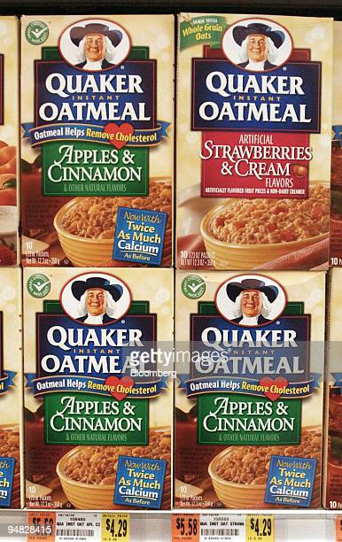 Boxes of Quaker instant oatmeal are seen on the shelves of an Associated Supermarket in New York Tuesday, July 12, 2005. PepsiCo Inc. Said...