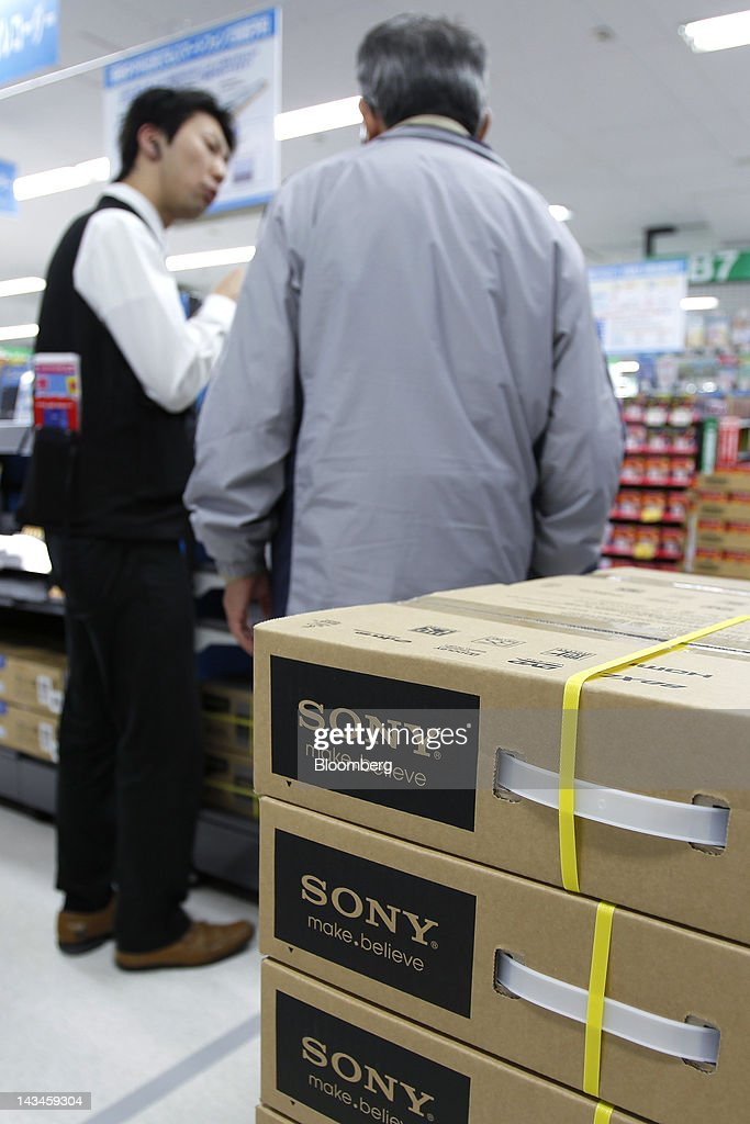 Boxes of Sony Corp.'s Blu-ray disc and DVD recorder are stacked at the Labi Ofuna electronics store, operated by Yamada Denki Co., in Yokohama City, Kanagawa Prefecture, Japan, on Friday, April 27, 2012. Consumer prices excluding fresh food rose 0.2 percent from the year before, exceeding estimates, a government report showed earlier today. Photographer: Kiyoshi Ota/Bloomberg via Getty Images