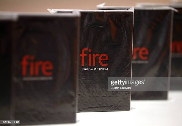 Boxes of the new Amazon Fire phone are displayed at an ATT store on July 25 2014 in San Francisco California Amazon's Fire phone is going on sale...