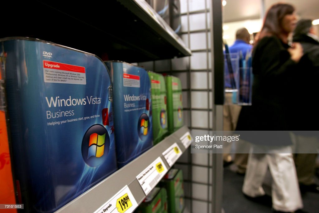 Boxes of the new People Windows Vista software sit on a shelf at a Best Buy store January 30, 2007 in New York City. Microsoft launched the Windows Vista operating system to consumers today.