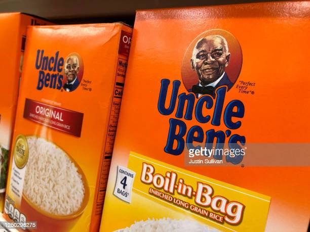 Boxes of Uncle Ben's rice are displayed on a shelf at a Safeway store on June 17 2020 in San Anselmo California Quaker Oats announced that it will...