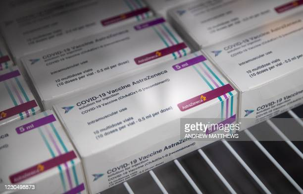 Boxes of vials of the Oxford/AstraZeneca Covid-19 vaccine are seen in a refridgerator at Ashton Gate Stadium in Bristol on January 9, 2021 one of...