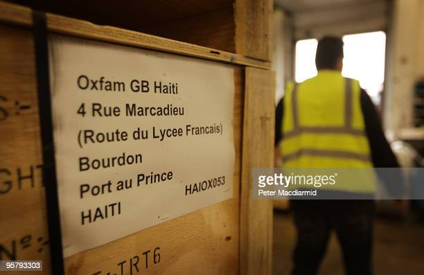 Boxes of water sanitation equipment waits to be loaded from Oxfam's logistics warehouse for shipping to Haiti on January 15 2010 in Bicester England...