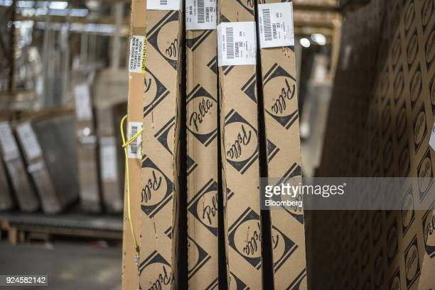 Boxes of window and door frames sit in the storage area of the Pella Corp manufacturing facility in Pella Iowa US on Thursday Feb 22 2018 The US...