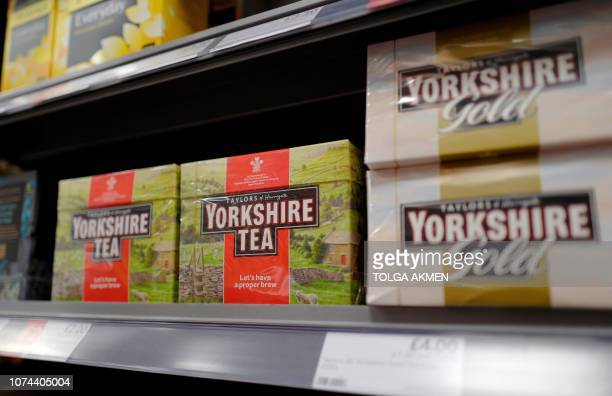 Boxes of Yorkshire Tea teabags are pictured on display for sale in a store in London on December 19 2018 Britons are up in arms over new...