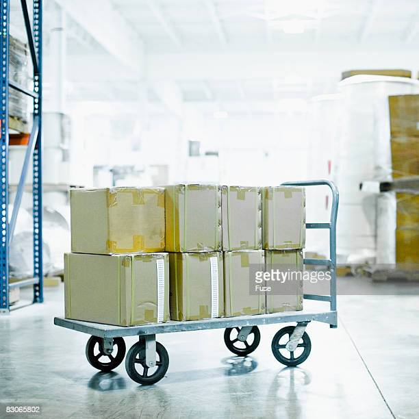 Boxes on a Cart in a Warehouse
