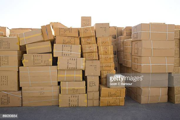 Boxes stacked on the dockside of Dubai Creek