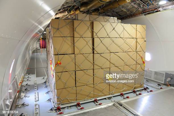 Boxes with cargo net on pallet inside A330200F prototype parked in the staticdisplay at the SingaporeAirshow 2010