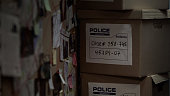 Boxes with evidential materials at police office, investigation process, case