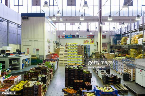 Boxes with fresh fruit stand on the grounds of the central market in BerlinGermany 27 November 2017 More than hundred wholesalers and companies...