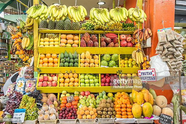 Boxesof colorful fruits for sale at the Mercado Central in Lima Peru