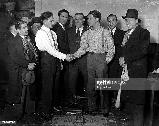 Boxing 14th December East London boxer Kid Berg and Marius Baudry shake hands at as they meet for a weighin at a office in London