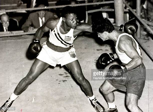 Boxing 1952 Olympic Games Helsinki Finland Laszlo Papp of Hungary avoids a jab from American opponent Joe Webb who he knocked out in the second round...