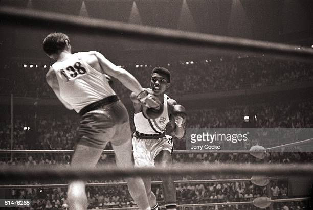 Boxing 1960 Summer Olympics USA Cassius Clay in action during light heavyweight fight Rome Italy 8/25/19609/11/1960