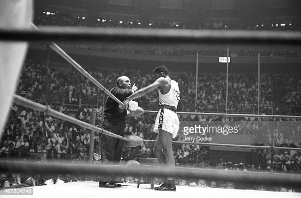 1960 Summer Olympics USA Cassius Clay in his corner with team coach Julius Menendez during Men's LightHeavyweight Gold Medal bout vs Poland Zbigniew...