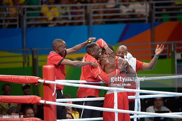 2016 Summer Olympics Kenya Rayton Nduku Okwiri victorious after winning Men's Welterweight 69kg fight vs Russia Andrei Zamkovoi at Riocentro Rio de...