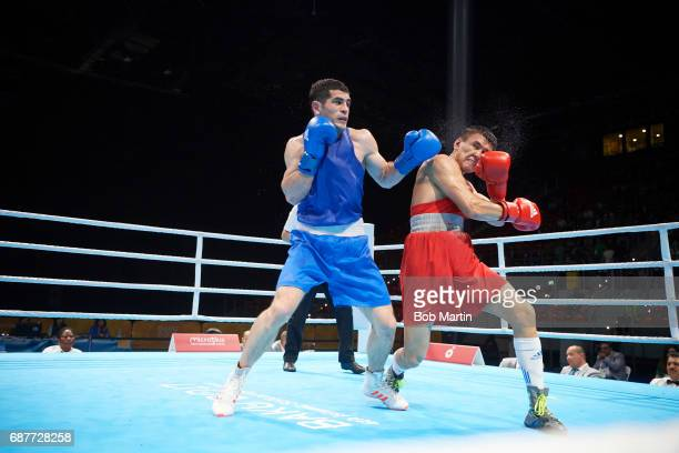 4th Islamic Solidarity Games Azerbaijan Kamran Shakhsuvarly in action vs Kazakhstan Tursynbay Kulahmet during Men's Middleweight 75 Kg Gold medal...