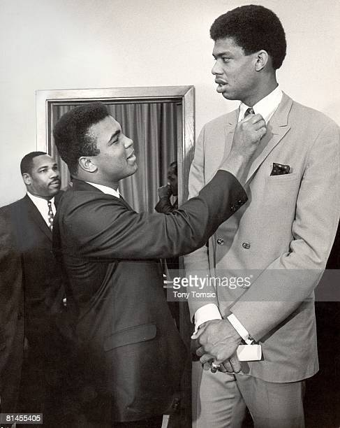 Boxing and College Basketball Muhammad Ali with Lew Alcindor during media press conference rejecting US Army induction African American Athletes at...