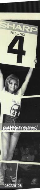 Boxing at Hordern Pavilion'Abigail' holding up cards to to tell the number of the next round February 13 1974