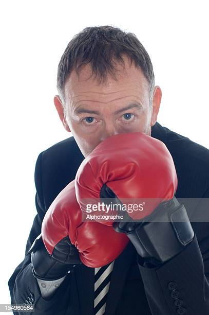 Boxing Businessman with his guard up