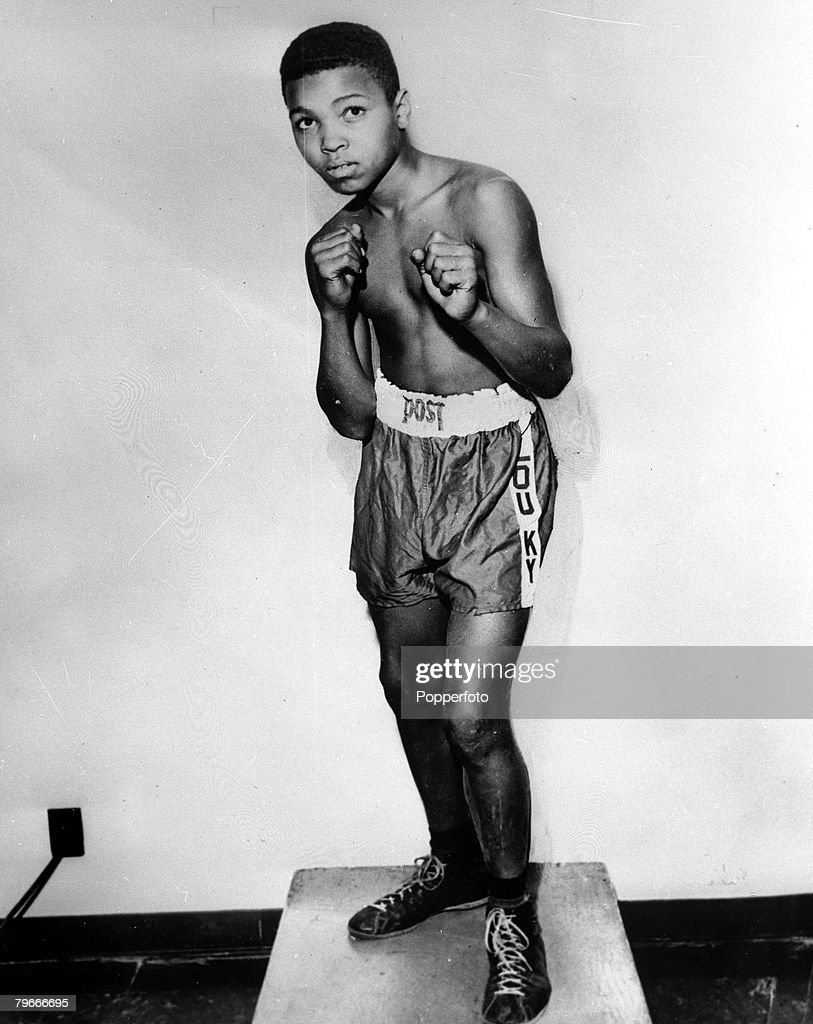 Boxing, Cassius Clay (later Muhammad Ali) pictured as a young boy of age 12 at a gym in Louisville, Kentucky, USA at the beginning of his career, 1954 : News Photo
