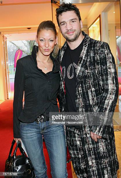 Boxing champ Markus Beyer arrives with Danii Haak at the Herbert Award 2006 Gala at the Elysee Hotel on March 26 2007 in Hamburg Germany