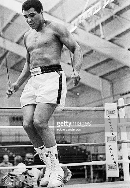 Boxing champion and legend Muhammad Ali skipping rope in the ring during training for his fight with Larry Holmes at Caesars Palace Resort and Hotel...