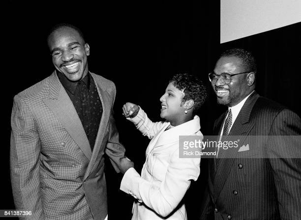 Boxing Champion Evander 'The Real Deal' Holyfield Singer/Songwriter Toni Braxton and LaFace CoFounder Antonio 'LA' Reid attend LaFace Records Toni...