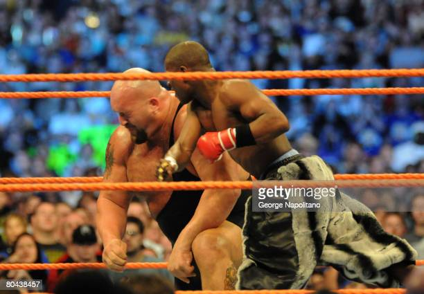 """Boxing champion Floyd """"Money"""" Mayweather knocks out the 7 foot 400 pound Big Show in front of 74,635 fans at the Citrus Bowl on March 29, 2008 in..."""