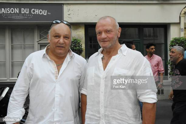 Boxing champion Franck Tiozzo and bar tender Nounours attend Jamais A Terre Jo Prestia Book Signing At Art Cube Galerie on July 7 2018 in Paris France