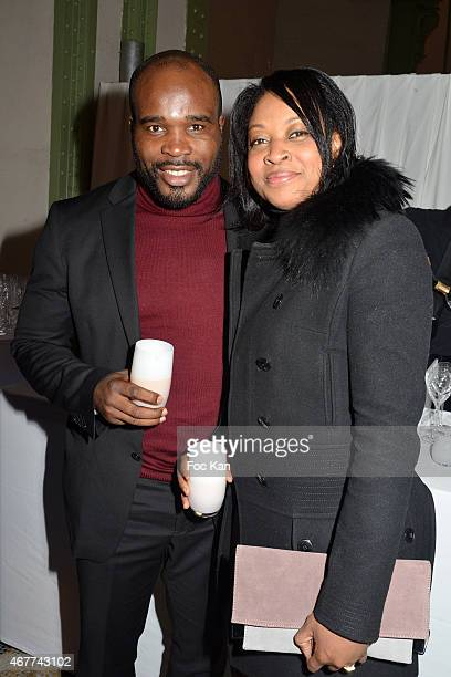 Boxing Champion Jean Marc Mormeck and his wife attend the 'Diamond Night by Divinescence Vendome' Harumi Klossowska Jewellery Exhibition Preview As...
