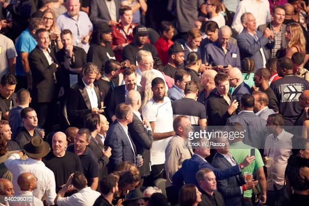 Closeup of fans in rinsgside seats before Floyd Mayweather Jr vs Conor McGregor fight at TMobile Arena View of Oklahoma City Thunder forward Paul...