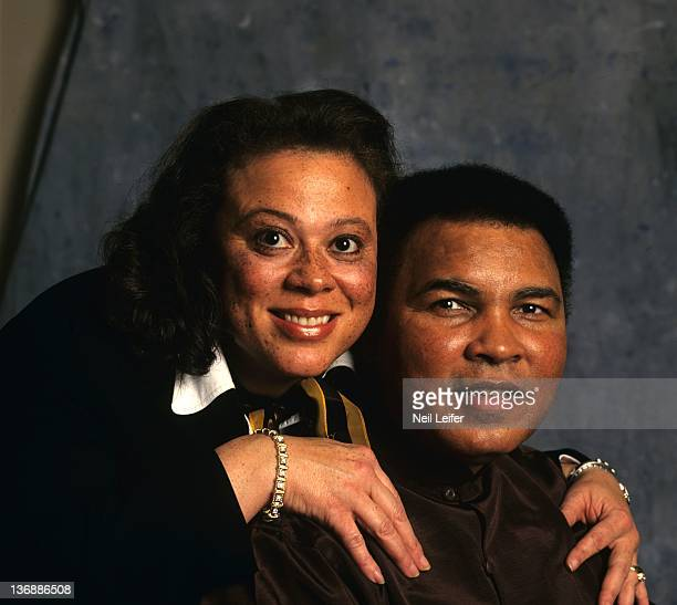 Boxing Closeup portrait of former heavyweight champion Muhammad Ali with wife Lonnie Ali during photo shoot Dallas TX 12/9/1997 CREDIT Neil Leifer