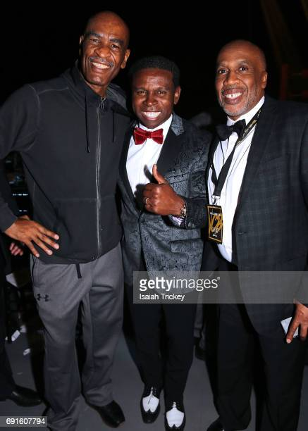 Boxing coach Dewith Frazer Michael 'Pinball' Clemons CoFounder of the Pinball Clemons Foundation and boxer Paul Brown of Paul Brown Box Fit attend...