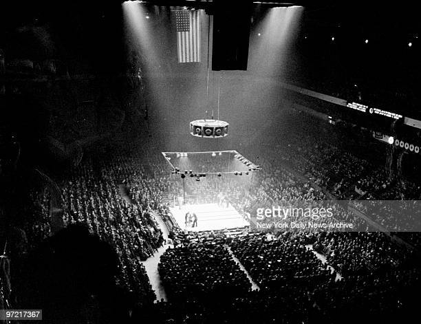 A boxing crowd at Madison Square Garden as seen from the last row in the balcony