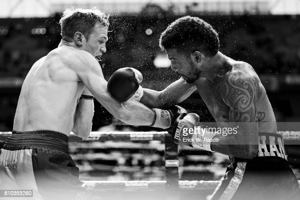 David Toussaint and Shane Mosley Jr in action during middleweight bout at Suncorp Stadium Brisbane Australia 7/2/2017 CREDIT Erick W Rasco