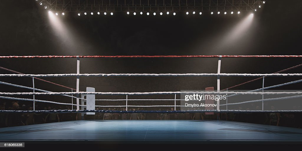 Boxing: Empty professional ring with crowd : Stock Photo