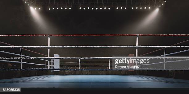 Boxing: Empty professional ring with crowd