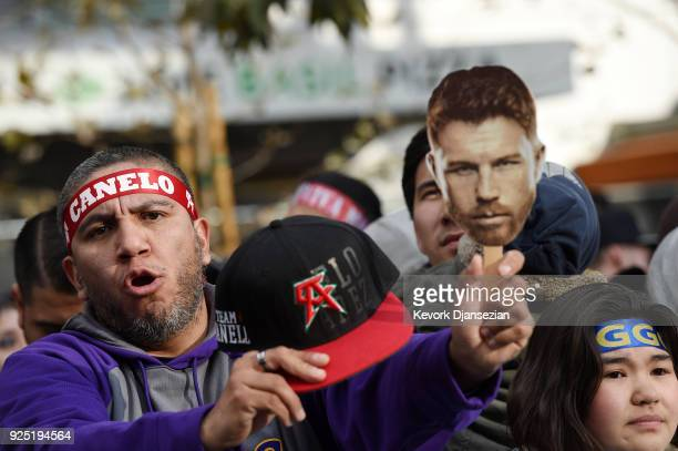 Boxing fans attend a news conference for the announcement of a rematch between Canelo Alvarez and Gennady Golovkin at Microsoft Theater at LA Live on...