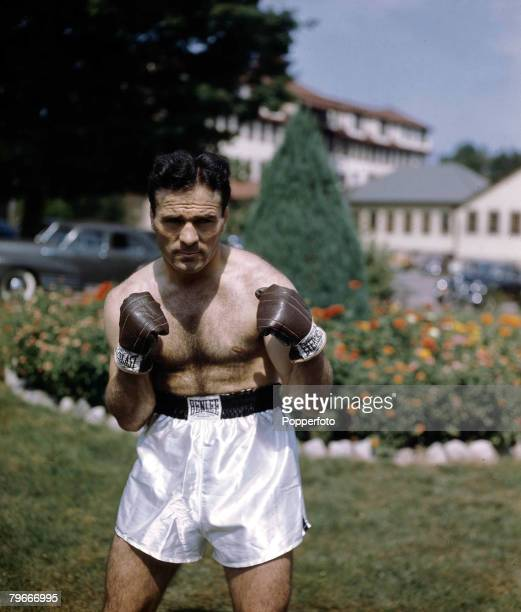 Boxing French Middleweight boxer Marcel Cerdan posing in true fight mode Cerdan was killed in an air crash in 1949