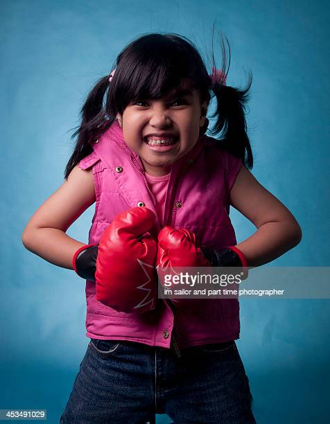 boxing girl with angry face