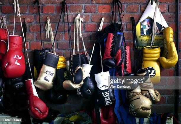 Boxing gloves are seen during a Media Workout at Matchroom Boxing Gym on November 07, 2019 in Brentwood, England.