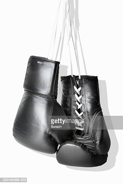 boxing gloves hanging against white background, close-up - boxing gloves stock photos and pictures
