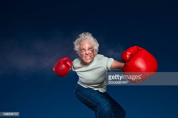 boxing grandmother - funny boxing stock photos and pictures
