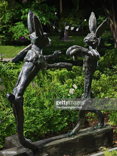Boxing Hares by Barry Flannagan was photographed at the home of Donald and Ann Brown in Washington DC Le Flamand by Alexander Calder is shown in the...