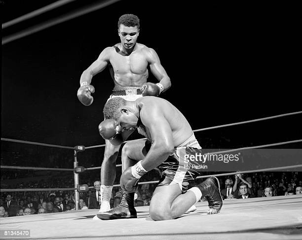 Boxing Heavyweight Cassius Clay in action during knock out vs Archie Moore at Sports Arena Los Angeles CA