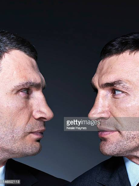 Boxing heavyweight champions Vitali and Wladimir Klitschko are photographed for Live magazine on March 11 2012 in Kiev Ukraine