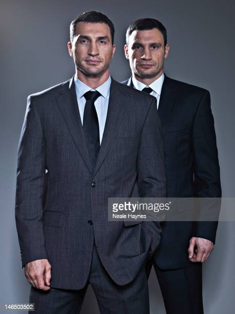 Boxing heavyweight champions Wladimir and Vitali Klitschko are photographed for Live Night Day magazine on March 11 2012 in Kiev Ukraine