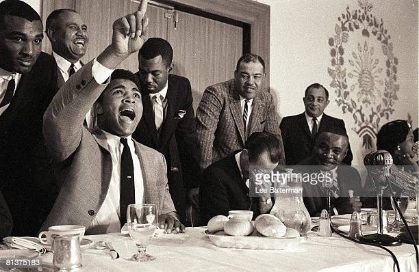 Boxing Heavyweight Title Cassius Clay shouting during press conference of signing to fight Sonny Liston Denver CO 11/5/1963